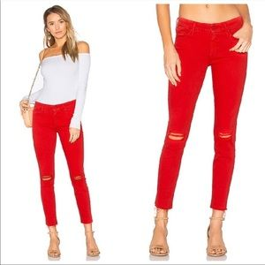 MOTHER   The Looker Ankle Fray Jeans Firecracker